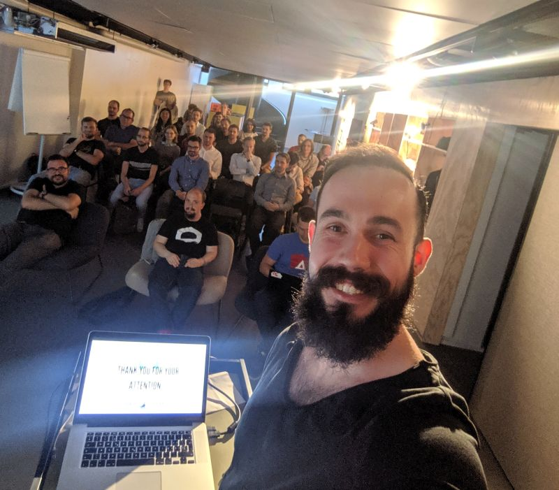 Tomas Trajan speaking about Angular Elements at Angular Zurich Meetup 08 2019