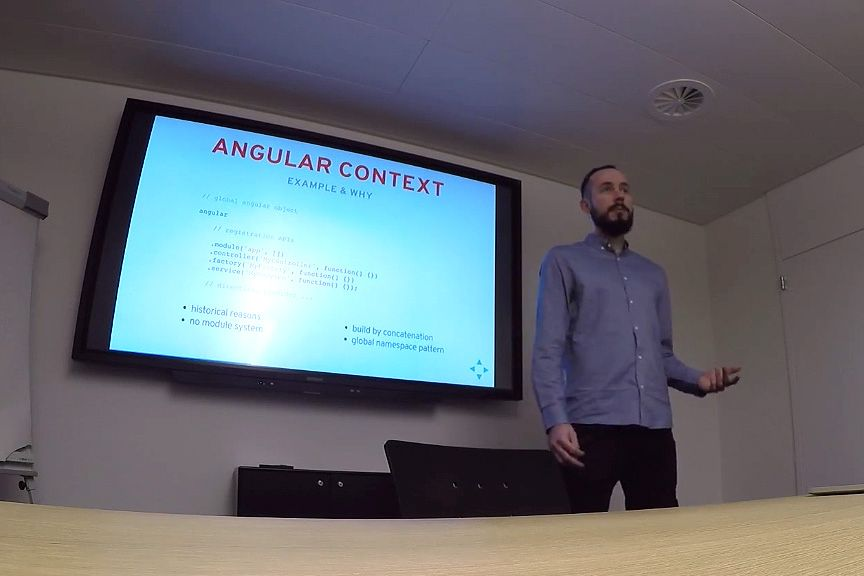 Tomas Trajan speaking about proper unit testing of Angular JS apps